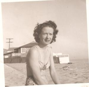 Jean Hughes Haley, Charmaine's mother, on Malibu beach.