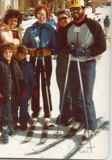 At Mammoth Mountain with daughters (we are to the left) and friends